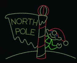 20' X 26' NORTH POLE w/WAVING ELF IN LED - ANIMATED
