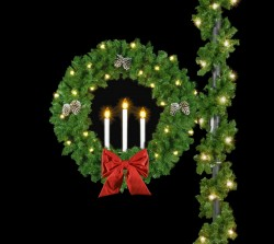 "4.2' TRIPLE CANDLE WREATH with 18"" Flat Nylon Bows & Pine Cones"