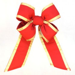 """OUTDURA - 18"""" HEAVY DUTY RED BOW WITH GOLD ACCENT"""