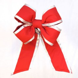 """OUTDURA - 18"""" HEAVY DUTY RED BOW WITH SILVER ACCENT"""