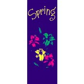 FLOWERS WITH SPRING ON PURPLE
