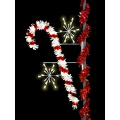 7' Enhanced Candy Cane with Snowbursts