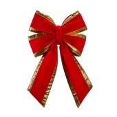"12"" Structural Bow with Red Velvet & Gold Trim"