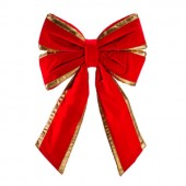 "18"" Structural Bow with Red Velvet & Gold Trim"