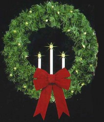 """52"""" REFURBISHED ROCKY MOUNTAIN TRI-CANDLE WREATHS"""