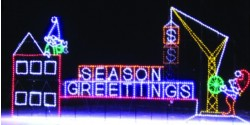 19' x 41' ELVES & HOLIDAY CRANE - ANIMATED