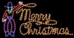 6' x 10' COWBOY ROPING MERRY CHRISTMAS