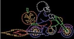 7' x 14' SKELETON ON MOTORCYCLE