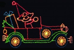 11' x 18' ANIMATED ELF IN ANTIQUE CAR W/LED LAMPS