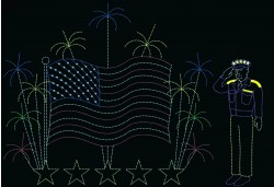 36' x 42' AMERICAN FLAG & FIREWORKS w/GENERAL EISENHOWER