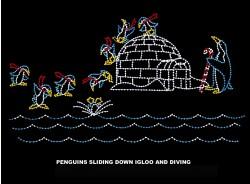 18' x 30' PENGUINS SLIDING DOWN IGLOO