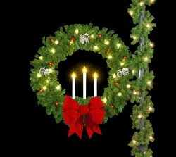 "60"" DELUXE TRIPLE CANDLE WREATH"