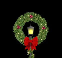 """50"""" DELUXE POST OVER WREATH W/BOWS & METALLIC ORNAMENTS"""