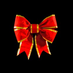 STRUCTURAL 3-D BOW WITH RED NYLON AND GOLD ACCENT