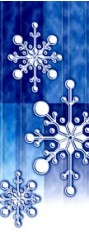 TORN PAPER SNOWFLAKES / BLUE BACKGROUND