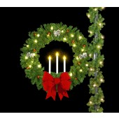"50"" DELUXE TRIPLE CANDLE WREATH with 18"" 3D Red Nylon Bows"
