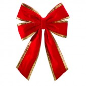 "24"" Red Velvet Bow with Gold Trim"